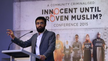 """Hizb ut-Tahrir spokesman Uthman Badar delivers a speech during the conference """"A Community Criminalised: Innocent Until Proven Muslim"""" in Sydney."""