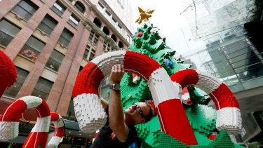 The Lego Christmas tree in the Pitt St Mall last year.
