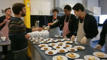 Future focus: Jacana School for Autism students prepare morning tea. The school develops  skills for beyond school: literacy and numeracy, personal development, industry specific and work related.