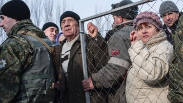 Residents line up for help at the humanitarian aid centre in Avdiivka, eastern Ukraine, on Friday.