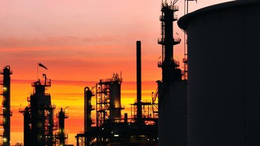 Members of the Maritime Union of Australia protested outside the Caltex Australia Lytton refinery.