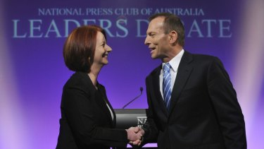 Julia Gillard and Tony Abbott at the National Press Club in 2010.