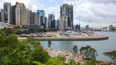The high-rise development as viewed from Barangaroo Point