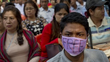 Protesting in Yangon, Myanmar, in December last year against a Thai court's verdict sentencing two Myanmar migrant workers to death.