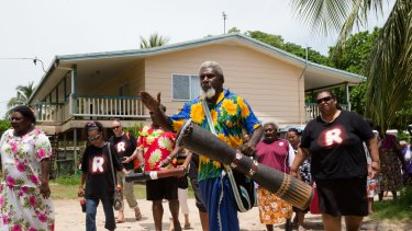 William Bero escorts the Recognise team to the hall on Mer Island in the Torres Strait.