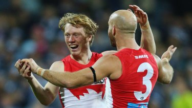Happy days: Callum Mills celebrates a goal with Jarrad McVeigh during the match against Geelong in July.
