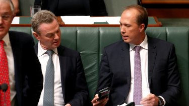 Minister Defence Industry Christopher Pyne and Minister for Immigration and Border Protection Peter Dutton.