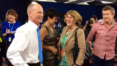 Campbell Newman is all smiles after tonight's grilling.