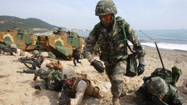 South Korean and US Marines participate in joint military exercises, in Pohang, South Korea.