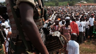 An elite military guard at President Pierre Nkurunziza's campaign rally.