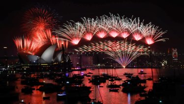 True colours: the midnight New Year's Eve fireworks on Sydney Harbour.