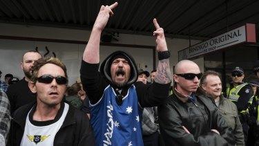 'Patriots' at a protest against a Bendigo mosque last year.