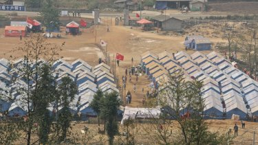 The Red Cross Society's No. 137 refugee camp at the border near Nansan, in China's Yunnan Province.