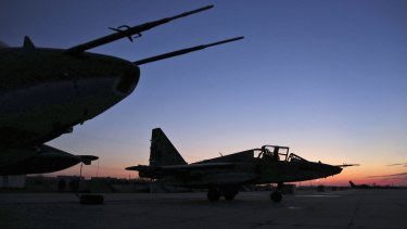 Russian Su-25 ground attack jets on return from Syria in March.