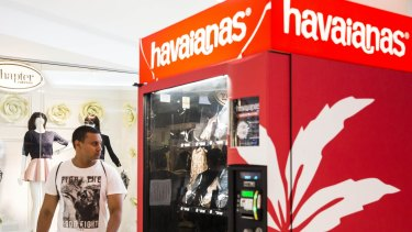 A Havaianas thong vending machines in World Square shopping centre, Sydney