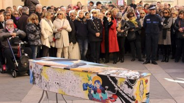 The painted coffin of  Aurelie de Peretti, who was killed at the Bataclan concert hall during the Paris attacks, is pictured during her funeral ceremony in Saint-Tropez, French Riviera, on Thursday.