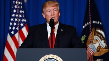 President Donald Trump speaks at Mar-a-Lago in Palm Beach after the US fired a barrage of cruise missiles into Syria.