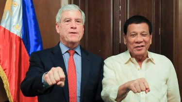Incoming director-general of National Intelligence, Nick Warner, with Philippines President Rodrigo Duterte