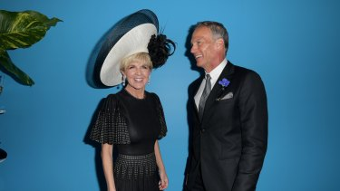Deputy Liberal leader Julie Bishop and her partner David Panton in the Myer Marquee at the Birdcage on Victoria Derby Day.
