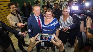 Bill Shorten visited Morayfield Shopping Centre with his wife Chloe and Labor candidate for the seat of Longman Susan Lamb.