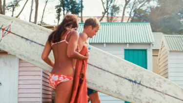 Surfer with girl, Lorne, c.1968 (detail).