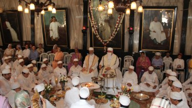Parsi priests perform the Jashan (thanksgiving) ceremony in Mumbai.