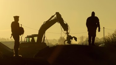 Heavy machinery moves in to demolish the Calais migrant camp this week.