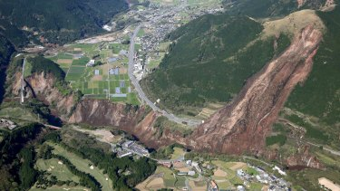 A landslide caused by the earthquake in Minamiaso, Kumamoto prefecture, in southern Japan on Saturday.