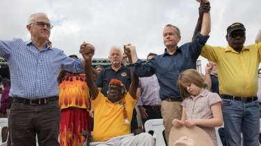 Bill Shorten and Malcolm Turnbull during the Garma Festival.