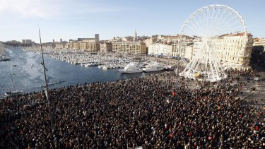 Thousands of people attend  a demonstration in solidarity with the victims of terrorist attacks in and around Paris linked to Wednesday's attack on French satirical newspaper Charlie Hebdo at the Old-Port of Marseille on Saturday.