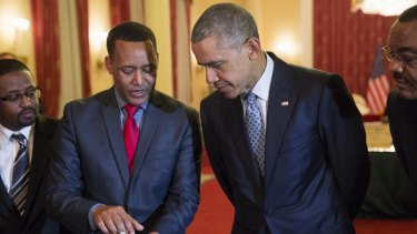 Dr Zeresenay Alemseged Lemseged, head of the California Academy of Sciences with President Obama.