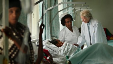 Dr Catherine Halmin and Sister Alem Tsehai treat a patient at the hospital in Ethiopia.