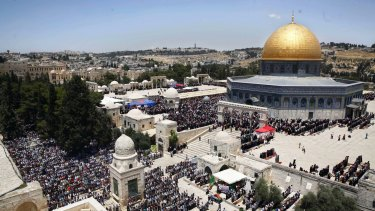 Palestinians pray in the al-Aqsa Mosque compound in occupied East Jerusalem earlier this year.
