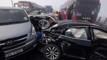 Damaged vehicles sit on Yeongjong Bridge in Incheon, South Korea.