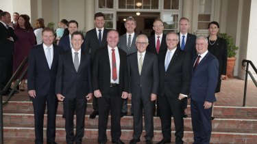 Minister for Small and Family Business Craig Laundy (front row, far left) with Prime Minister Malcolm Turnbull's new ministry at Government House in Canberra in December.