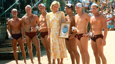 Diana with Brett Hooey (at far left) and other Terrigal lifesavers in January 1988.