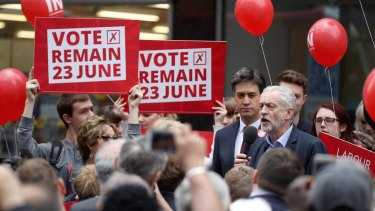 Labour Leader Jeremy Corbyn and former leader Ed Miliband campaigning in Doncaster, England, to keep the UK in the EU.