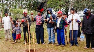 Kaiowa tribespeople at Tey Kue reserve, Mato Grosso do Sul, Brazil.