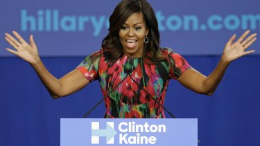 Michelle Obama speaks during a campaign rally for Democratic presidential candidate Hillary Clinton in Charlotte, North Carolina.