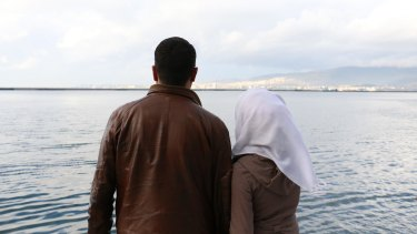 Syrians Abu Jabar, 29 and Um Jabar, 23, had never seen the sea. Soon they will tackle it on a dangerous crossing to Europe from Izmir, Turkey.