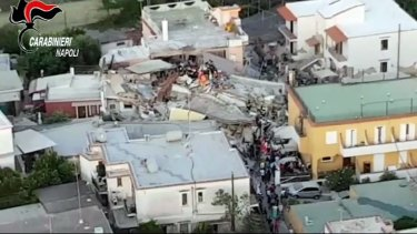 A collapsed building is seen in this aerial view of Casamicciola.