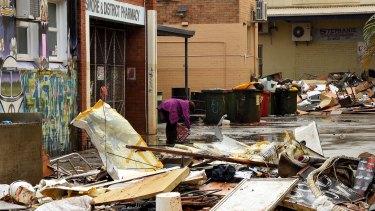 Scenes of devastation on Country Lane in Lismore's CBD.