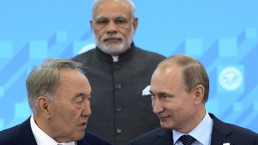 From left: Kazakhstan President Nursultan Nazarbayev, Indian Prime Minister Narendra Modi and Russian President Vladimir Putin before the security summit on Friday.