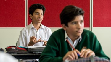 Year 8 students attend a health class at Camberwell High School.