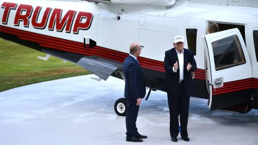 Donald Trump arrives by helicopter to his Trump Turnberry Resort in Ayr, Scotland.