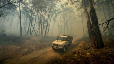 DSE officers monitor fires burning in the Cobaw Forest.
