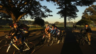 A sunrise ride at Centennial Park.