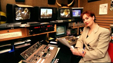 Singer in 1996, in the control room of Channel Seven's Today Tonight.