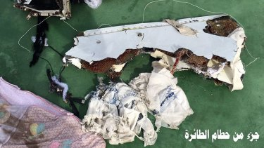 Part of the wreckage from EgyptAir flight 804 recovered from the Mediterranean.