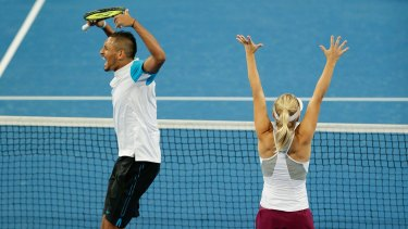 Pure joy ... Nick Krygios and Daria Gavrilova of Australia Green celebrate after defeating Carline Garcia and Kenny De Schepper of France in the mixed doubles match get get through to the Hopman Cup at Perth Arena.